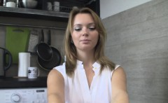 Real cutie and her naughty session in kitchen