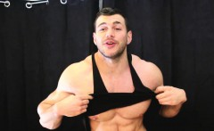 Straight muscle guy made to suck bigger muscle cock