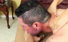 femdom masseuse tying rope around subs cock