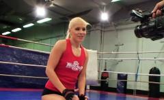 Lesbian babe fingered after wrestling
