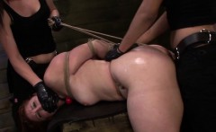 hogtied redhead spitroasted in rough trio