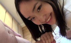 Japanese teen plays with dick in the morning