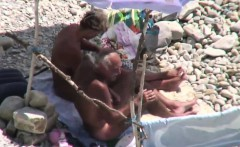 kinky old couple on public beach sex
