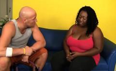 nasty and busty ebony bbw slut rides her fitness trainer