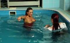 Dominant euro babe drags servant to the pool for wetlook fun