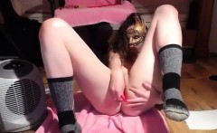 Masked teen masturbating in her tight pussy