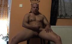 Cute bald hunk pulls his fat prick out and masturbates solo