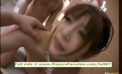 Brunette Chinese riding huge cock in bed