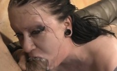 brunette ghetto trash mallory maneater gagging on dudes dick