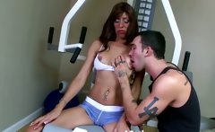 Horny ebony MILF teases gym instructor