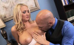 Massive Tit Blonde in His Office