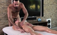 Hot jock massages, inserts a toy and fucks cute twink