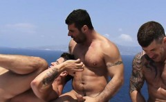 Big dick gay threesome and cumshot