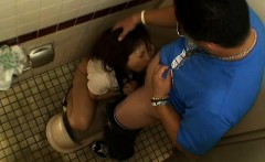 asian blowjob in a public bathroom stall