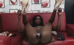 tall busty ebony babe fucks all holes deep and hard