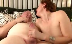 Mature British lady in stockings fucks and sucks trucker