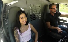 Hot and small tits teen Sadie Pop gets roughly banged in van