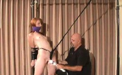Bounded chick gets choked, manhandled and titillated