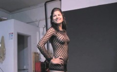 Indian Girl Natasha Black Fishnet Outfits Striptease
