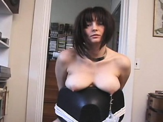 Bitch gets ballgagged and tutored in bdsm scenery