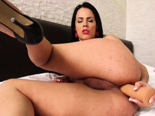 Hot big dick and big tits brunette shemale ass playing