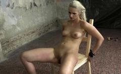 Restrained bondage babe sucks doms cock