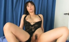 Mai Uzuki hot asian model in lingerie gives a sexy blowjob