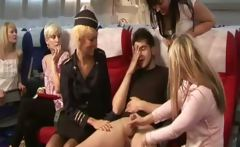 All babes antering the cockpit by tugging for lucky guy