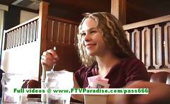 Fiona superb blonde teenage public flashing tits