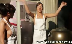 Naked Lane sisters frying up some dinner for family