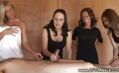 Four horny CFNM babe tug cock and cant get enough