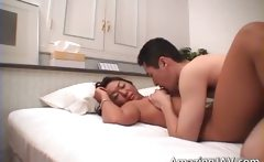 Asian slut gets her hairy pussy fucked