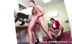 Two office skanks demand hard fucking from two male