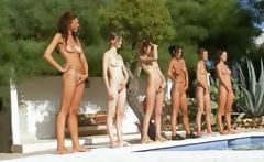 Six naked coeds by the pool from Russia