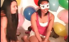 Teen girls kiss sensually in truth or dare game