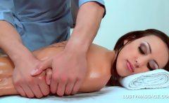 Brunette excited slut enjoys her full body massage