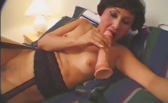 Hot granny toying with dildo