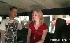 Sweet blonde cutie seduced in the sex bus