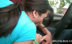 Lusty brunette amateur blows bus drivers hard cock