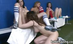 Bunch of newbie rushes playing football naked and make out