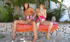 Two russian lesbian teens dildoing