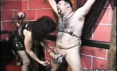fat and hairy dude gets tied and ass