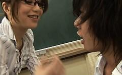 Hot Asian teacher fucks and sucks