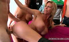Smoking hot pornstars get hardcore fucked at college orgy