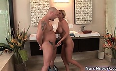 Hot blonde slut with sexy body sucking