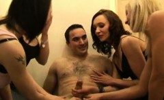 Femdom CFNM sluts massaging dudes cock