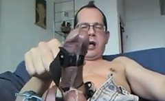 Geeky Guy Toying Around With His Stiff Cock