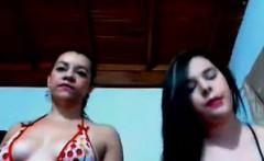 Sexy Lesbian Latina teens tease and dance on webcam