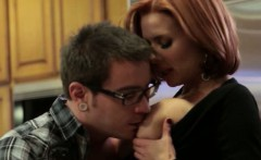 Busty mature redhead teaches nerdy guy some sex lessons