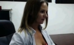 Amateur Brunette Milf Strips at work for cam